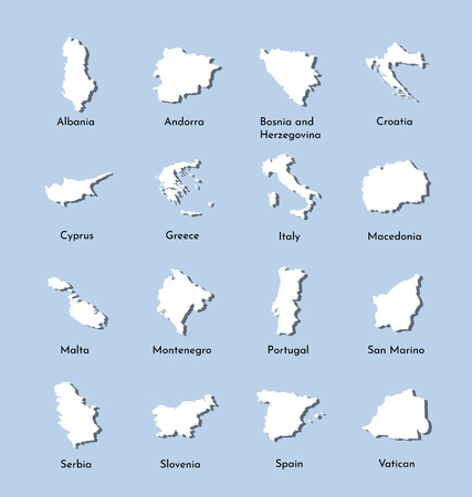 Vector illustration set maps of South Europe: Serbia, Slovernia, Vatican, Albania, Andorra, Greece, Cyprus, Croatia, Portugal, Italy, Spain, Montenegro, Malta, Macedonia, San Marino. White silhouette