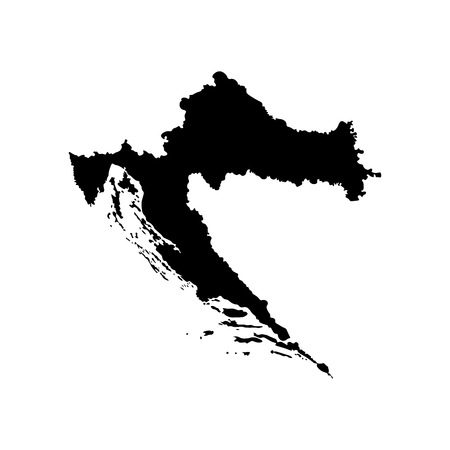 Vector isolated illustration of simplified political map of South Europe state - Republic of Croatia. Black silhouette. White background
