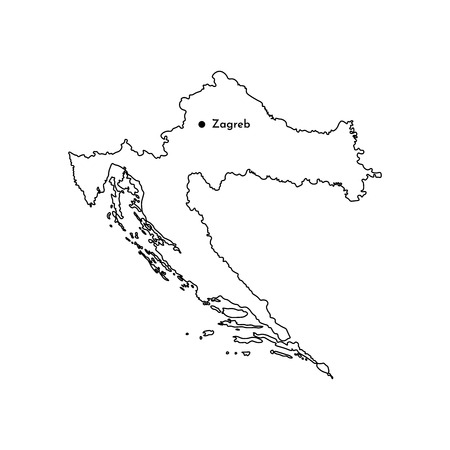 Vector isolated illustration of simplified political map of South Europe state - Republic of Croatia. Marked capital - Zagreb. Black line silhouette. White background