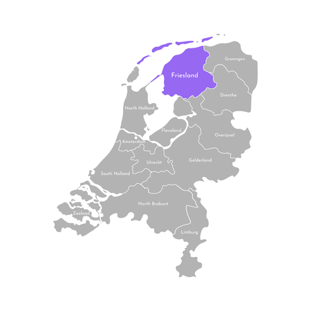 Vector isolated simplified illustration icon with grey silhouette of Netherlands (Holland) provinces. Selected administrative division - Friesland. White outline and background