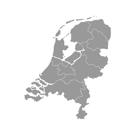 Vector isolated simplified illustration icon with grey silhouette of Netherlands (Holland) provinces. Selected administrative divisions with names. White outline and background
