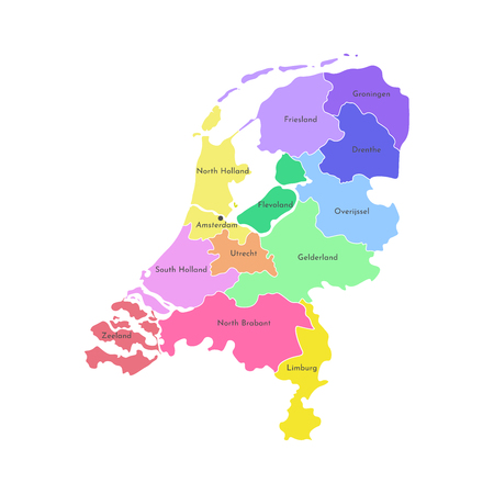 Colorful vector isolated simplified illustration icon with grey silhouette of Netherlands' (Holland) provinces. Selected administrative divisions. White outline and background Stockfoto - 122270065