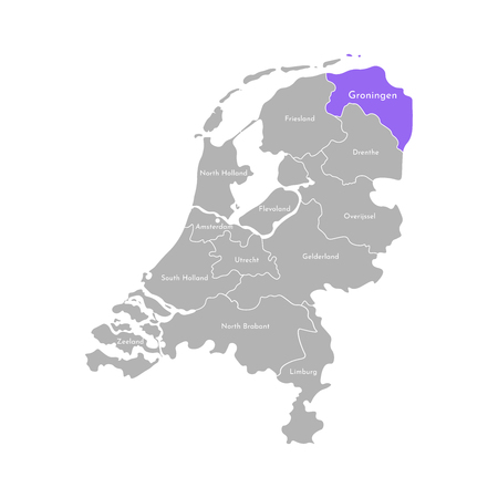 Vector isolated simplified illustration icon with grey silhouette of Netherlands (Holland) provinces. Selected administrative division - Groningen. White outline and background