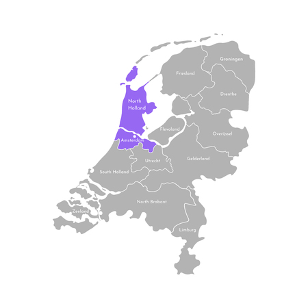 Vector isolated simplified illustration icon with grey silhouette of Netherlands (Holland) provinces. Selected administrative division - North Holland. White outline and background