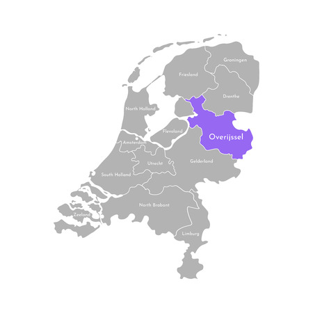 Vector isolated simplified illustration icon with grey silhouette of Netherlands (Holland) provinces. Selected administrative division - Overijssel. White outline and background