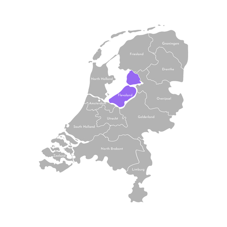 Vector isolated simplified illustration icon with grey silhouette of Netherlands (Holland) provinces. Selected administrative division - Flevoland. White outline and background