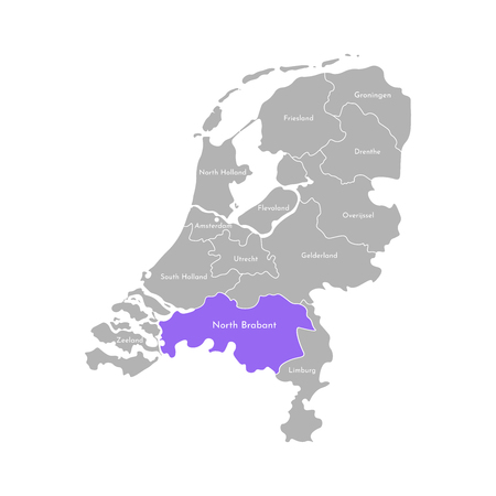 Vector isolated simplified illustration icon with grey silhouette of Netherlands (Holland) provinces. Selected administrative division - North Brabant. White outline and background