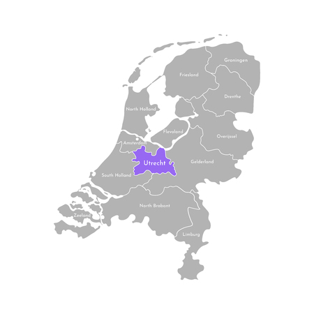 Vector isolated simplified illustration icon with grey silhouette of Netherlands (Holland) provinces. Selected administrative division - Utrecht. White outline and background 向量圖像