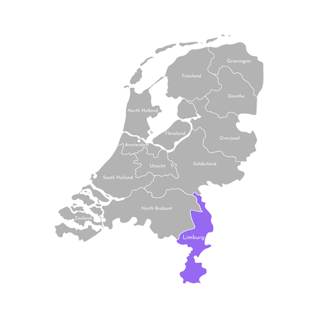 Vector isolated simplified illustration icon with grey silhouette of Netherlands (Holland) provinces. Selected administrative division - Limburg. White outline and background 向量圖像