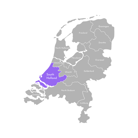 Vector isolated simplified illustration icon with grey silhouette of Netherlands (Holland) provinces. Selected administrative division - South Holland. White outline and background 向量圖像
