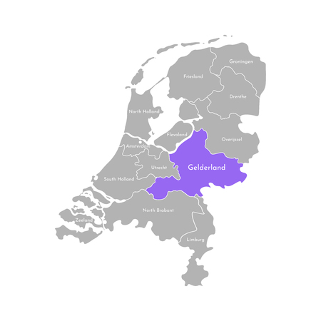Vector isolated simplified illustration icon with grey silhouette of Netherlands (Holland) provinces. Selected administrative division - Gelderland. White outline and background