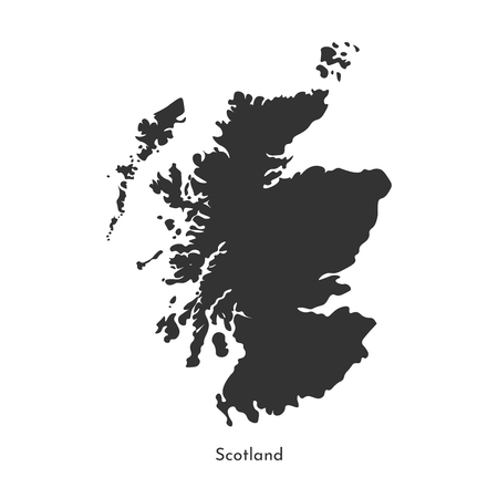 Vector isolated simplified illustration map. Grey silhouette of Scotland (United Kingdom of Great Britain and Northern Ireland). White background