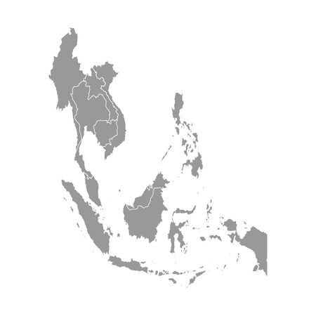 Vector illustration with simplified map of Asian countries. South East region. States borders of Myanmar, Laos, Indonesia, Vietnam, Cambodia, Malaysia, Thailand. Grey silhouette. White background
