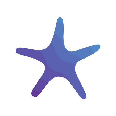 Vector illustration icon. Marine tropical design. Blue gradient silhouette of sea creatures - starfish. White background