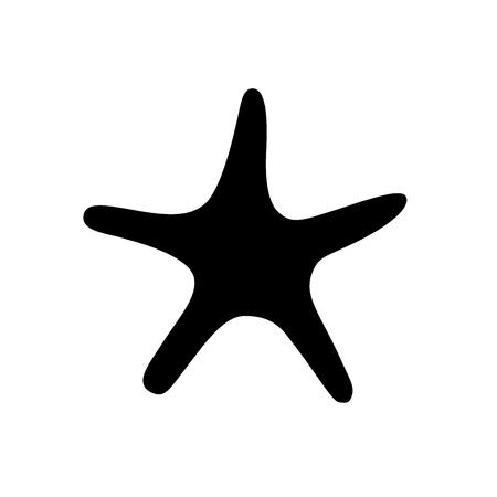 Vector illustration icon. Marine tropical design. Black silhouette of sea creatures - starfish. White background Stock Illustratie