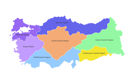 Colorful vector isolated simplified map of Turkey regions. Borders and names of administrative divisions. White background Imagens - 122270295