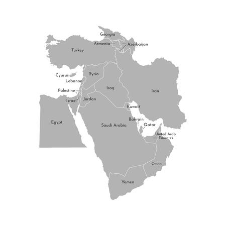 Vector illustration map of Asian countries. Middle East. States borders of Turkey, Cyprus, Jordan, United Arab Emirates, Saudi Arabia, Qatar, Iraq, Iran, Israel. Grey silhouette. White background