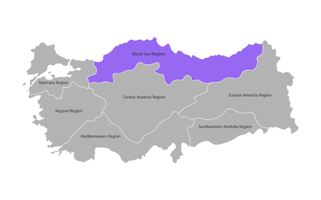 Vector isolated simplified map of Turkey regions. Marked Black Sea Region. Borders and names of administrative divisions. Grey silhouettes, White background