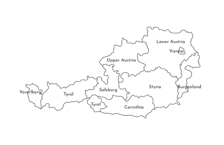 Vector isolated illustration of simplified administrative map of Austria. Borders and names of the regions. Black line silhouettes.