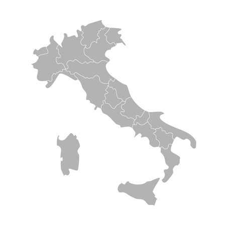 Vector isolated illustration of simplified administrative map of Italy. Borders of the provinces (regions). Grey silhouettes. White outline.