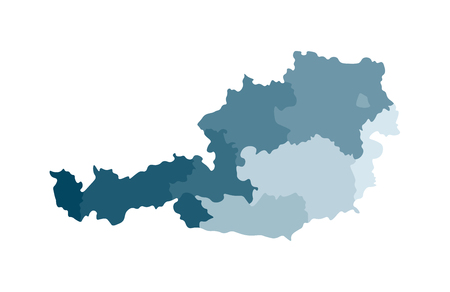Vector isolated illustration of simplified administrative map of Austria. Borders of the regions. Colorful blue khaki silhouettes.
