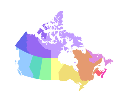 Vector isolated illustration of simplified administrative map of Canada. Borders of the regions. Multi colored silhouettes.