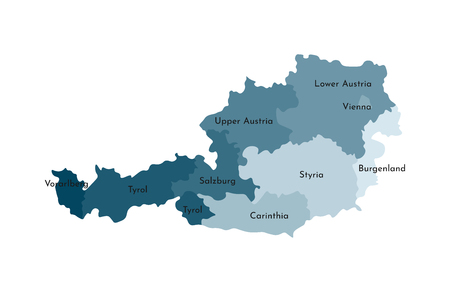 Vector isolated illustration of simplified administrative map of Austria. Borders and names of the regions. Colorful blue khaki silhouettes.