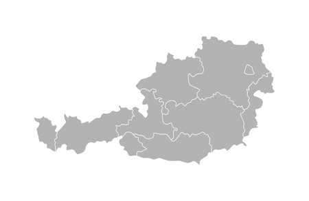Vector isolated illustration of simplified administrative map of Austria. Borders of the provinces (regions). Grey silhouettes. White outline. Illustration