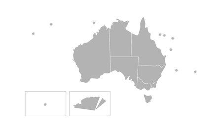 Vector isolated illustration of simplified administrative map of Australia. Borders of the provinces (regions). Grey silhouettes. White outline.