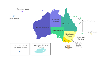 Vector isolated illustration of simplified administrative map of Australia. Borders and names of the regions. Multi colored silhouettes.