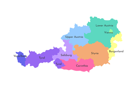 Vector isolated illustration of simplified administrative map of Austria. Borders and names of the regions. Multi colored silhouettes. 일러스트