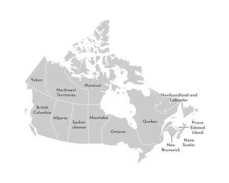 Vector isolated illustration of simplified administrative map of Canada. Borders and names of the provinces (regions). Grey silhouettes. White outline. Иллюстрация