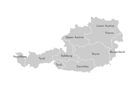 Vector isolated illustration of simplified administrative map of Austria. Borders and names of the provinces (regions). Grey silhouettes. White outline. Illustration