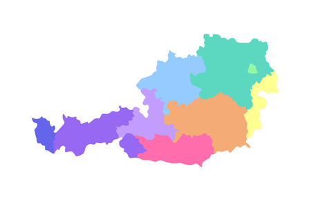 Vector isolated illustration of simplified administrative map of Austria. Borders of the regions. Multi colored silhouettes. Illustration