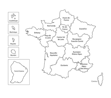 Vector isolated illustration of simplified administrative map of France. Borders and names of the regions. Black line silhouettes