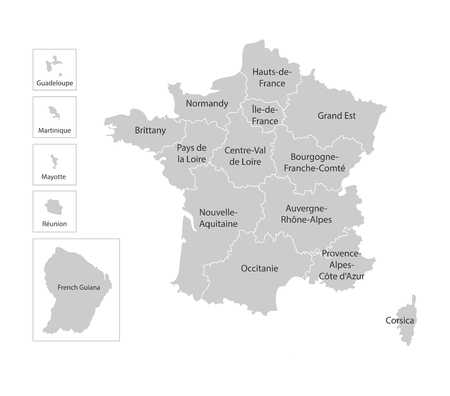 Vector isolated illustration of simplified administrative map of France. Borders and names of the regions. Grey silhouettes, white outline