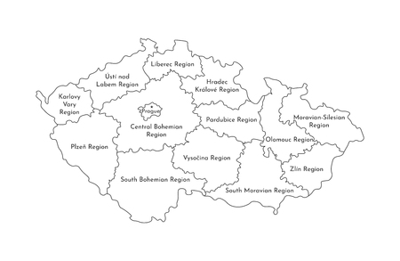 Vector isolated illustration of simplified administrative map of Czech Republic. Borders and names of the regions. Black line silhouettes