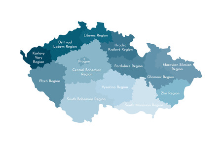 Vector isolated illustration of simplified administrative map of Czech Republic. Borders and names of the regions. Colorful blue silhouettes