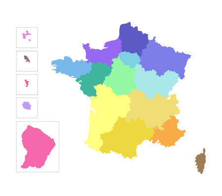 Vector isolated illustration of simplified administrative map of France. Borders of the regions. Colorful silhouettes