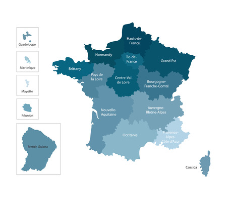 Vector isolated illustration of simplified administrative map of France. Borders and names of the regions. Colorful blue silhouettes