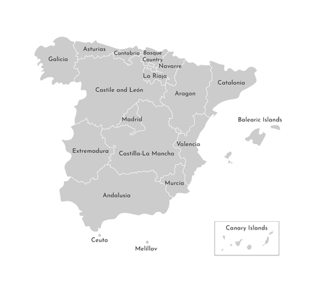 Vector isolated illustration of simplified administrative map of Spain. Borders and names of the counties. Grey silhouettes. White outline and background Illustration