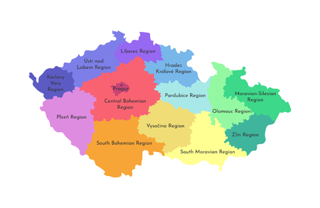 Vector isolated illustration of simplified administrative map of Czech Republic. Borders and names of the regions. Multi colored silhouettes