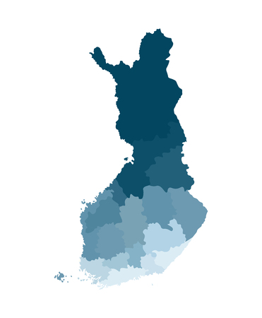 Vector isolated simplified map of Finland regions. Borders of administrative divisions. Blue khaki colors silhouette, white background Stock Illustratie