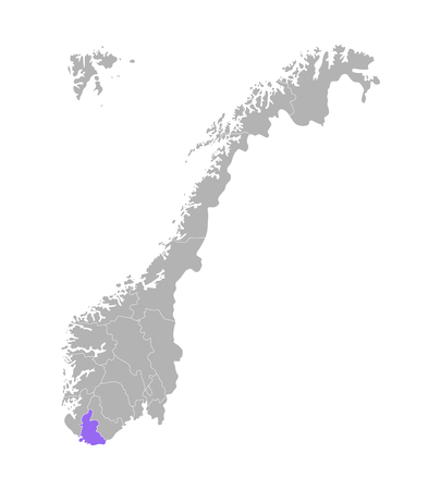 Vector isolated simplified illustration with grey silhouette of Norway, violet contour of Vest-Agder region and white outlines of norwegian borders. White background