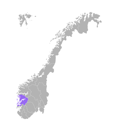 Vector isolated simplified illustration with grey silhouette of Norway, violet contour of Hordaland region and white outlines of norwegian borders. White background