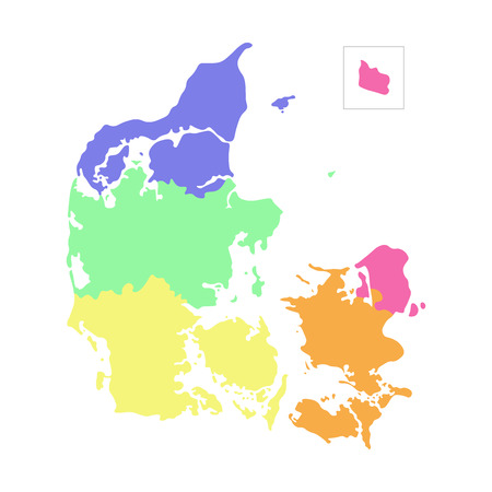 Vector isolated illustration of simplified administrative map of Denmark. Borders of the regions. Multi colored silhouettes Stock Illustratie