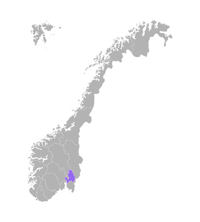 Vector isolated simplified illustration with grey silhouette of Norway, violet contour of Akershus region and white outlines of norwegian borders. White background