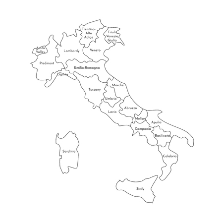 Vector isolated illustration of simplified administrative map of Italy. Borders and names of the regions. Black line silhouettes.