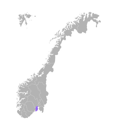 Vector isolated simplified illustration with grey silhouette of Norway, violet contour of Vestfold region and white outlines of norwegian borders. White background