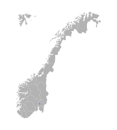 Vector isolated simplified illustration with grey silhouette of Norway, violet contour of Oslo region and white outlines of norwegian borders. White background